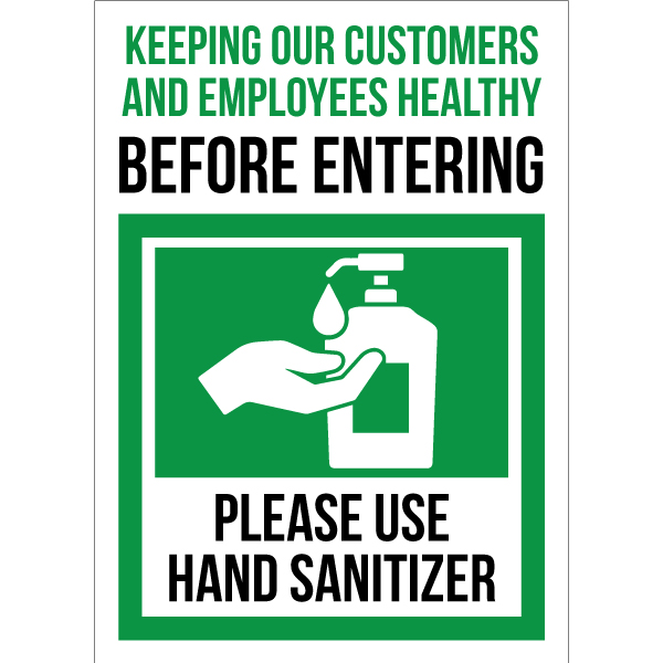 Sticker requesting each person sanitize before entering